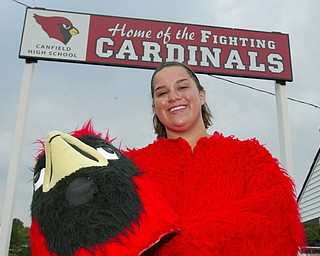 """Becca Wagner, 2008 Canfield """"Big Red"""" Mascot."""