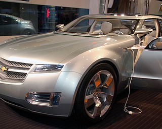 The 2008 Chevrolet Volt Concept at the Cleveland Auto Show.