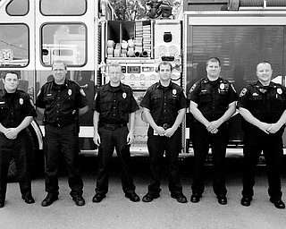 Canfield Fire Fighters l to r Ralph McMahan Jr, Mark D'Angelo, Bill Wilkeson and Jason Glista and Canfield Police Officers Mark Meshula and Lance Malone. (Photo/Mark Stahl)