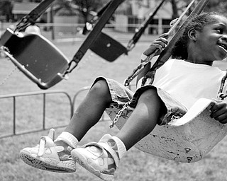 Travon Tinsley, 4, of Youngstown on the swing at Community Day at the Rockford Village in Youngstown Saturday, August 23, 2008.