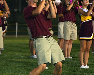 """""""Senior Luke Yeagley wails on that trumpet during the fabulous South Range Raider Band halftime show."""""""