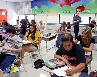 Joe Barickman, teaches Algebra 2 class at Howland High School.