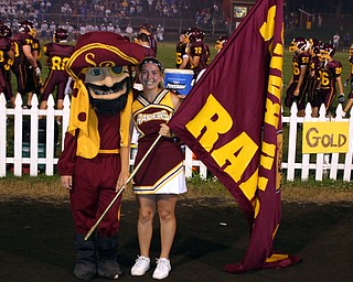 """The SOuth RAnge Raider Guy, Andrew Humansky, and the Flag Runner, Brittany Haynes, pose  long enough for a photo."""""""