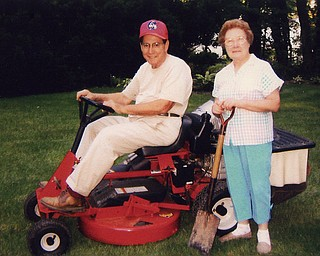 Joe and Valeria Demidovich love tending to their green spaces, which includes a lawn and lots of plantings. Photo from Cathy Ferenchak of Canfield, their daughter.