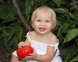 """Payton Zwingler, 13 months, got some """"good, clean fun"""" in her parents' garden. She's the daughter of Chad and Alyson Zwingler of Canfield."""