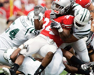 NO MOVING: Ohio State running back Maurice Wells is stuffed by the Ohio University defense during Saturday's game in Columbus. The Buckeyes dropped to No. 5 in polls after their 26-14 win over the Bobcats, and face No. 1 Southern California Saturday night.