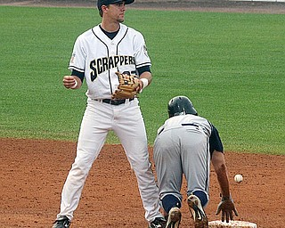 INDIANS PROSPECT: Mahoning Valley Srappers shortstop Lonnie Chisenhall, left, batted .290 while leading the Scrappers in hits (80) and home runs (5) this season. He was the first-round choice of the Cleveland Indians in the June draft.