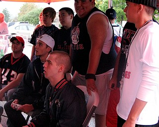 Students from Fitch playing Madden at Blitz's tailgate party before their game against Canton McKinley.