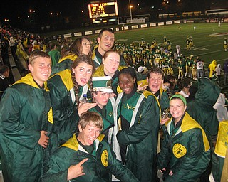 Ursuline Band Members (back row): Annie Cadle, Evan Sander and Erin Bouquet.  (middle row) Daniel Gleydura, Jen Stevens, Jimmy Hungerford, Liz McBride, Mike Thomas, and Katie Proach.  (front row) Marshall Finelli at Ursuline's 23-13 win over Massillion Washington Friday night at Stambaugh Stadium.