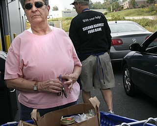 Mary Frangos of Liberty dropped off some food on Saturday for Second Harvest Food Bank.