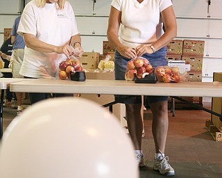 L-R  Corinne Kennedy of Newton Falls and Maryann Trevis are packing apples at Second Harvest Food Bank on Saturday.