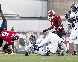 OOPS: Youngstown State quarterback Brandon Summers (6) spirals out of control against Liberty Saturday at Stambaugh Stadium.