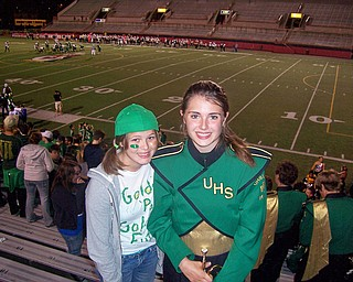 Mary Kate Stevens (Future Class of '13) celebrating the win with Ursuline Sophomore Band member Jennifer Stevens.