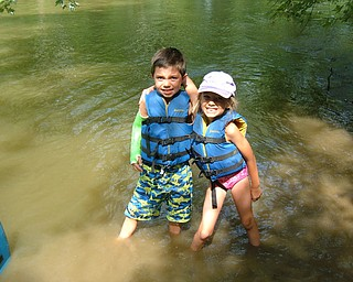 A broken arm didnt stop Ben Rizzo, age 8 from walking in the Mohican River with sister Abby, age 6 in Loudonville Ohio.  Submitted by Lisa, their mom, of Boardman.