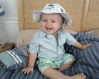 This is a picture of Matthew Wymer Jr., 1,  getting ready to go to the beach for the very first time.  He was with his parents Matt and Jessica Wymer of New Middletown. We were in Ocean City, Md.