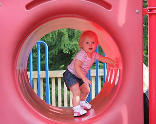 Payton exploring Tot's Town at Boardman Park. We spent a lot of time there this summer!