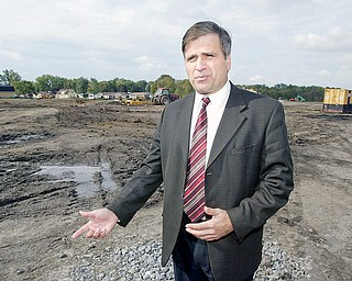 Girard Mayor James Melfi at site of under construction Girard High School.