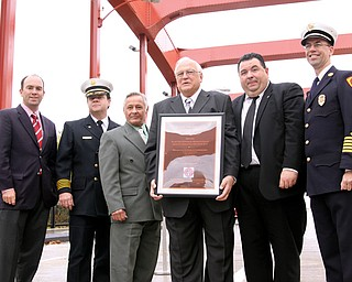 Prominant City Officials attended the dedication of the Fallen Firefighters Memorial Bridge (formerly Spring Common) on Friday