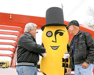 NUT CREATORS: Dick Tranick and Joe Mansky are two of the original pipefitters who created Mr. Peanut for Spring Common Bridge and are responsible for putting him up in the late 1980s. Mr. Peanut sat high on the old green bridge and greeted travelers at the Oak Hill Avenue entrance.
