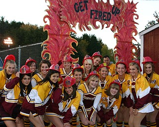 """""""It was """"Let's Get Fired UP Night"""" at South Range Friday night.  South Range Cheerleaders are ready with their fire hats!"""""""