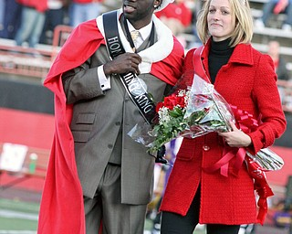 Newly crowned Homecoming King Wilson Okello and Queen Emily Wollett, Saturday October 25, 2008 Stambaugh Stadium
