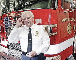 Austintown Fire Chief Andy Frost with the Dept.'s new truck.