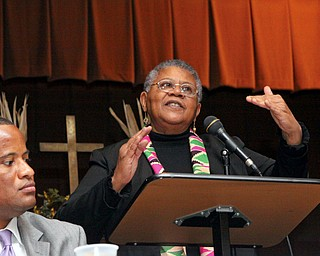 TRAILBLAZER: Minnijean Brown Trickey was one of the nine black students who integrated Central High School in Little Rock, Ark., 51 years ago. She spoke about her experiences to students Tuesday at Trinity United Methodist Church.