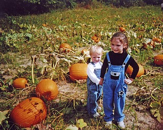 With her brother, Logan, in tow, Autumn Sebastian, 4 1/2, begins the hunt for the perfect pumpkins for Halloween. Photo sent in by grandmother Denise Sebastian of Canfield.