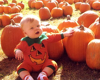 Johnathan Schiraldi enjoyed is first trip to the pumpkin patch. He even helped pick out his favorite. Mom Danielle and Dad John felt they had the cutest pumpkin, though.