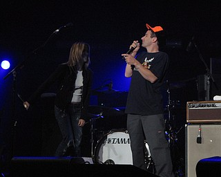 Sheryl Crow and Adam Horowitz of the Beastie Boys introduce Ben Harper at the Get Out and Vote '08 show at the Chevrolet Centre Wednesday night.