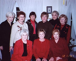 This card club has been together since November of 1957. Seated: Rita Roberts, Marline Sharisky and Betty Koneval. Standing: Peggy Sedlar, Ann Klein, Donna Nickel, Judy Shonn, Shirley Sedlar and JoAnn Reese.