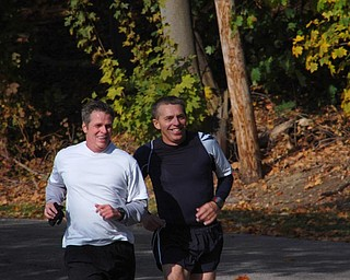 Leonard Blount and Lou Champney enjoy a run in Mill Creek Park.