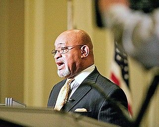 Executive Director of Ohio Commission on African American males Samuel Gresham Jr. speaks at City Hall Thursday