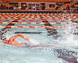 Connor Obradovich (14) of Cortland swims at YSU Natatorium for an all night Boyscout troop Lock-in Saturday December 27, 2008