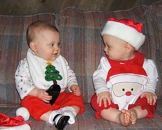 lst Grandchildren of Al & Diane Barnett, Austintown enjoying their first Christmas:   Savannah Marie Cervone (left) and Olyvia Rose Barnett (right)