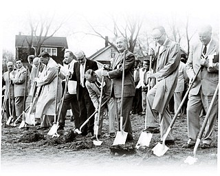 GROUNDBREAKING: City leaders and members of the Youngstown Playhouse break ground on the theater off Glenwood Avenue in April 1958.