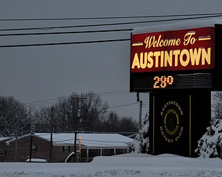 Austintown's welcome sign greets winter weather travelers