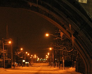 Icicles hang from a bridge over Mahoning Avenue in Youngstown