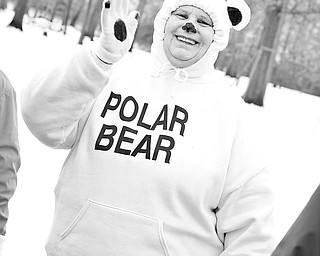 Wilma Selmon of East Liverpool dressed up as a Polar Bear for the Polar Bear Plunge at  Mosquito Lake, Saturday January 24, 2009