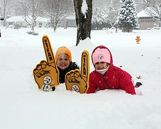 Siblings Jimmy and Cami Goske of Boardman show their Steeler pride in the cold!