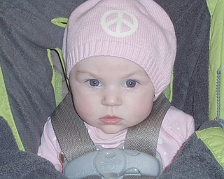Sophia Angeline Sidon, 4 months, daughter of Shannon O'Hara Sidon, is ready for winter - and peace.