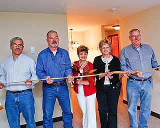 RIBBON CUTTTTING - Tom Christoff -  Ken Leonard - Bev Flowers - Jan MagLaughlin - Joe Clark - cut the ribbon at Canfield Colonial Estates.