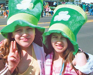ADARA DEANGELIS and ISABELLA VERA, both of Struthers are at the St Patrick's Day Parade.