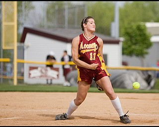 5.14.2009 Cardinal Mooney's Cadi Sheffler (11) throws a pitch during the top of the third inning at Boardman's Field of Dreams on Thursday evening. Geoffrey Hauschild