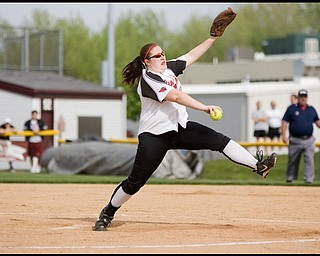 5.14.2009 Canfield's Carlee Hart (15) throws a pitch during the bottom of the third inning at Boardman's Field of Dreams on Thursday evening. Geoffrey Hauschild