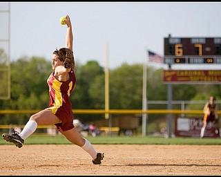 5.14.2009 Cardinal Mooney's Cadi Sheffler (11) throws a pitch during the final seventh inning at Boardman's Field of Dreams on Thursday evening. Geoffrey Hauschild