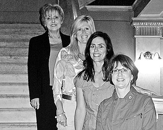 Special to The Vindicator TAKING STEPS: Canfield Republican Women's Club will have an annual picnic dinner and auction night at 5:30 p.m. June 4 at McMahon Hall at the MetroParks Experimental Farm in Canfield with Katherine Wolfe in charge. Taking steps to make the fundraiser successful are newly installed officers, from left, Pat Woomer, treasurer; Tricia Potesta, secretary; Michelle Parella, vice president; and Melinda McGowan, president. Potesta and Parella are coordinating a Chinese and live auction that will help raise funds for the club's Caring for America projects, including support for Fisher House, a compassionate care facility at Wright Patterson Air Force Base. For reservations call (330) 533-4731.