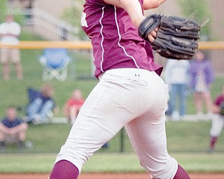 Boardman's Alex DiDomenico (1) pitches to Jackson High School during the top of the third inning at The University of Akron's Lee Jackson Softball Field on Wednesday afternoon.