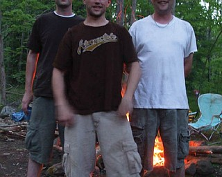 """The BASH brothers — Jackie, Chris and Craig — are """"bashing"""" a fishing trip at the family camp in Pennsylvania over Memorial Day weekend. Grandma Barb Bradford took the picture."""