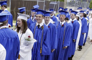 Poland HS grads line up outside the fieldhouse for Sunday commencement ceremony.